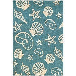 Picadilly Sea Shells Teal-Ivory Indoor/Outdoor Area Rug - 2' x 4'