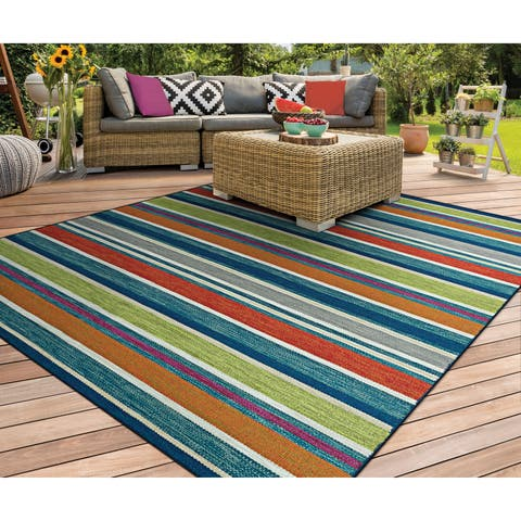"Hand-Woven Villa Stripes Blue-Green-Multi Indoor/Outdoor Runner Rug - 2'3"" x 8' Runner"
