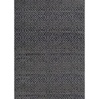"Samantha Greek Key Black Indoor/Outdoor Runner Rug - 2'3"" x 11'9"" Runner"