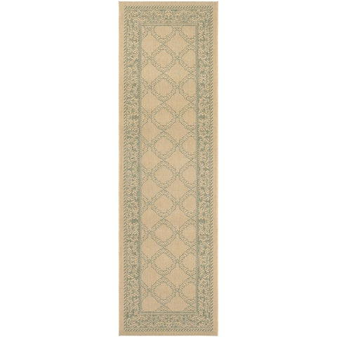 "Couristan Recife Garden Lattice Natural-Green Indoor/Outdoor Runner Rug - 2'3"" x 7'10"" Runner"