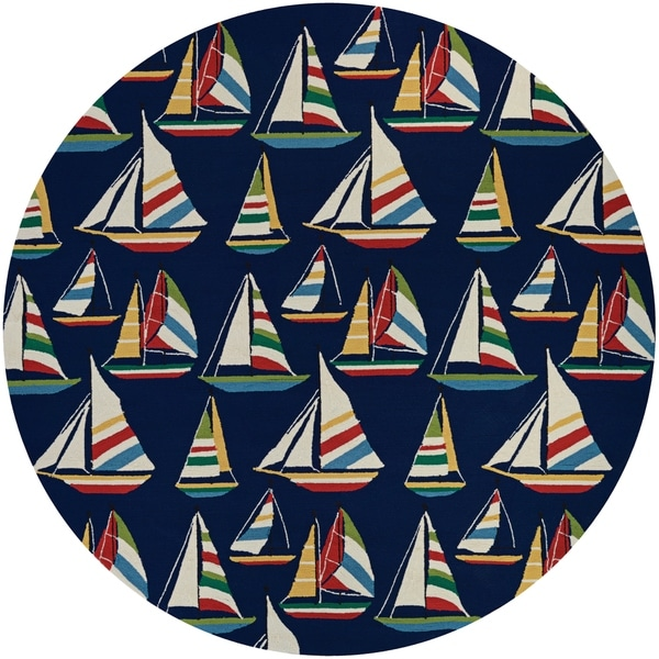 """Picadilly Seafaring Navy Indoor/Outdoor Round Rug - 7'10"""" Round"""