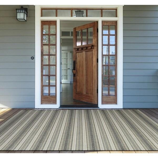 "Samantha Sand Stripe Ivory Indoor/Outdoor Area Rug - 2' x 3'7"""