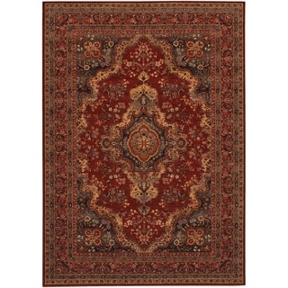 "Parish Bardseer Medallion Burgundy Runner Rug - 2'2"" x 8'11"" runner"
