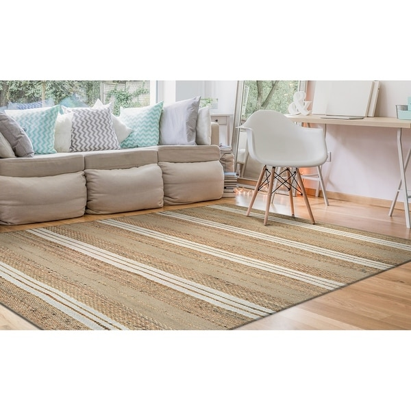 Hand-Loomed Green Leaves Stream Natural-Ivory Area Rug - 2' X 3'