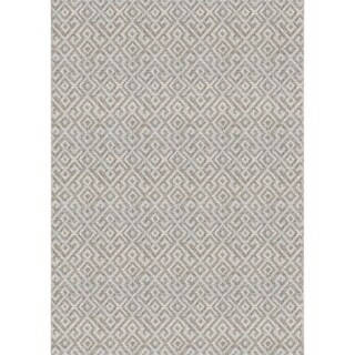 "Samantha Greek Key Beige Indoor/Outdoor Runner Rug - 2'3"" x 7'10"" Runner"