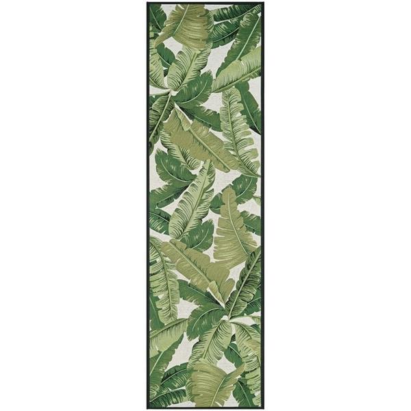 """Gelato Tropical Palm Green-Ivory Indoor/Outdoor Runner Rug - 2'3"""" x 7'10"""" runner"""