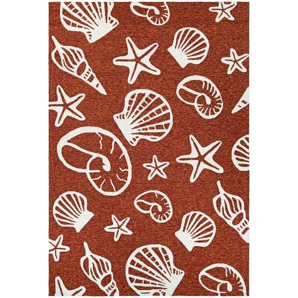 Picadilly Sea Shells Terracotta-Ivory Indoor/Outdoor Area Rug - 2' x 4'