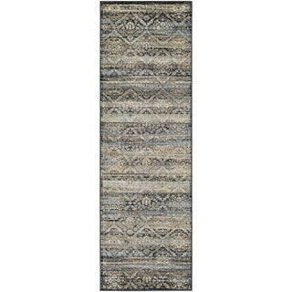 "Couristan Zahara All Over Diamond Black-Light Blue-Oatmeal Runner Rug - 2'7"" x 7'10"" runner"