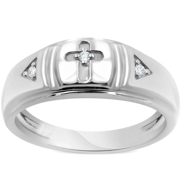 Shop Bliss 10k White Gold Diamond Cross Ring Mens Wedding