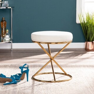 Silver Orchid Grant Brass-finish and Sand-tone Round Stool