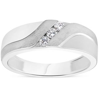 Bliss 10k White Gold 1/5ct TDW Diamond Mens Brushed Wedding Three Stone Ring Band (More options available)