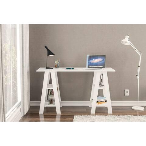 Polifurniture Sawhorse Writing Desk, White