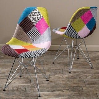 Modern Contoured Mid-Century Design Multi Color Patchwork Upholstered Chairs
