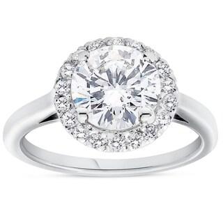 Bliss 14K White Gold 1 3/4 ct TDW Halo Diamond Round Cut Clarity Enhanced Engagement Ring (H-I/SI2-I2) - White H-I