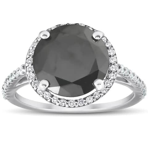 Pompeii3 14k White Gold 3 1/3 Ct TDW Black Diamond Halo Engagement Ring