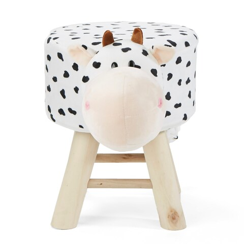 Mind Reader Children's Favorite Cow Animal Stool, Chair, Ottoman, Foot Rest, White