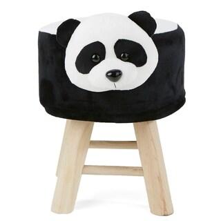 Mind Reader Children's Favorite Panda Animal Stool, Chair, Ottoman, Foot Rest, Black