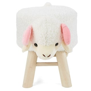 Mind Reader Children's Favorite Sheep Animal Stool, Chair, Ottoman, Foot Rest, White