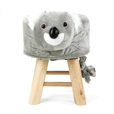 Mind Reader Children's Favorite Koala Animal Stool, Chair, Ottoman, Foot Rest, Grey