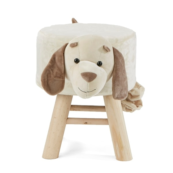 Mind Reader Children's Favorite Dog Animal Stool, Chair, Ottoman, Foot Rest, White