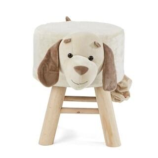Mind Reader Children's Favorite Dog Animal Stool, Chair, Ottoman, Foot Rest, White