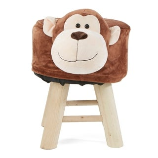 Mind Reader Children's Favorite Monkey Animal Stool, Chair, Ottoman, Foot Rest, Brown