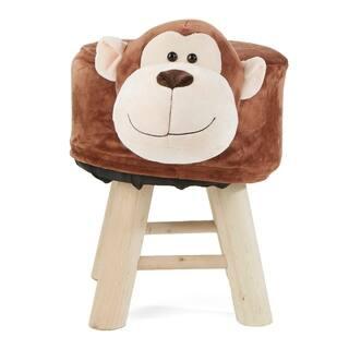 Mind Reader Children's Favorite Monkey Animal Stool, Chair, Ottoman, Foot Rest, Brown