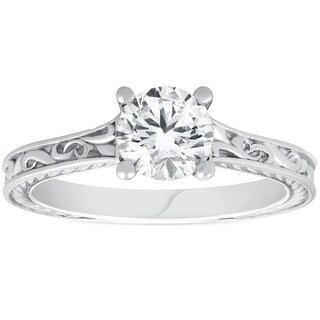 Bliss 14K White Gold 1 ct Round Cut Solitaire Diamond Vintage Engagement Ring Hand Engraved Clarity Enhanced (H-I/SI2-I1)