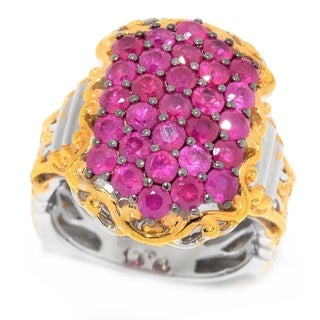 Michael Valitutti Palladium Silver Ruby North-South Cluster Ring