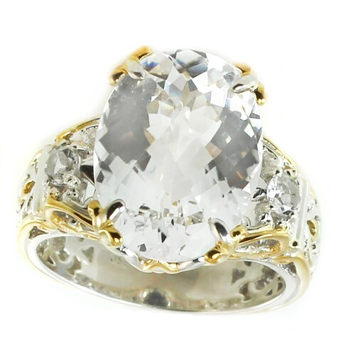 Michael Valitutti Palladium Silver White Quartz & White Topaz Cocktail Ring