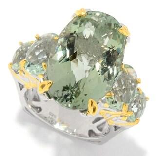Michael Valitutti Palladium Silver Green Prasiolite 5 Stone Masterpiece Ring