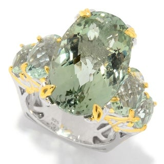 "Michael Valitutti Palladium Silver Green Prasiolite 5-Stone ""Masterpiece"" Ring"