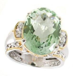 Michael Valitutti Palladium Silver Green Amethyst & White Zircon Ring