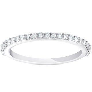 Bliss 14k White Gold 1/4 ct TDW Diamond Wedding Ring Womens Stackable Band