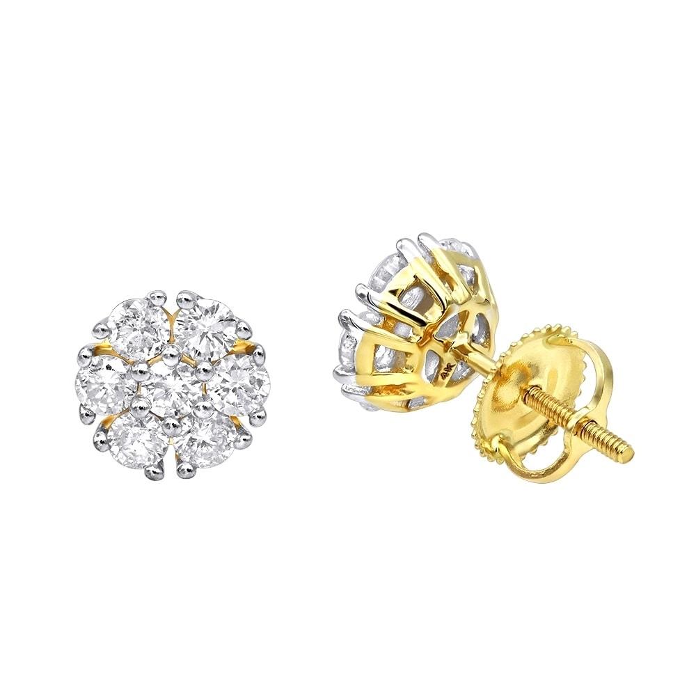 Unique Diamond Earrings Studs In 14k Gold 1ctw By Luxurman On Sale Overstock 21473809