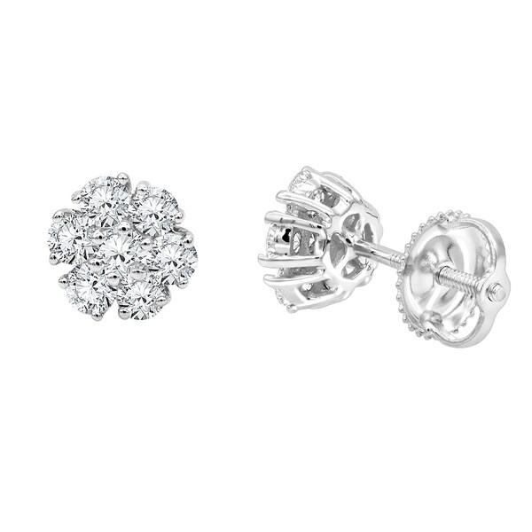05267a24b8e7d Shop Ladies Diamond Stud Earrings 14K Gold Cluster Flower Round ...