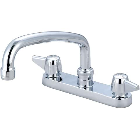 "Central Brass Two Handle Cast Brass Kitchen Faucet, 8"" Tube Swivel Spout, 0125-A - Chrome"