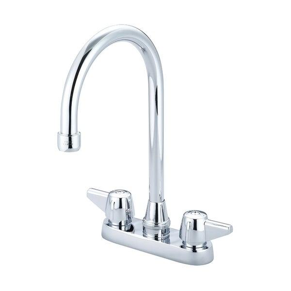"""Central Brass Two Handle Cast Brass Kitchen Bar Faucet, 5-1/2"""" Gooseneck Swivel Spout, 0084-KSA - CHROME"""