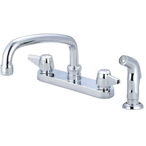 "Central Brass Two Handle Cast Brass Kitchen Faucet, 8"" Tube Swivel Spout, 0126-A - Chrome"