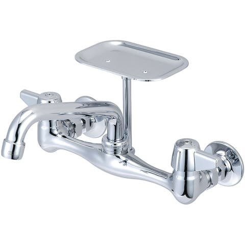 "Central Brass Two Handle Wallmount Kitchen Faucet, 6"" Tube Swivel Spout, 0048-UA - Chrome"