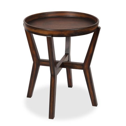 Arkdale Round Accent Table with Removable Tray Top, Dark Walnut Brown