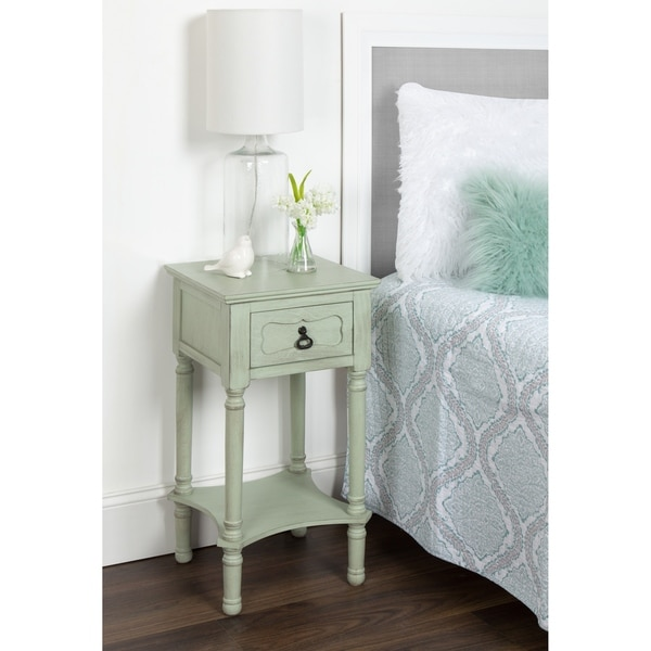 Marcella End Table with Drawer and Lower Shelf, Vintage Pastel Green
