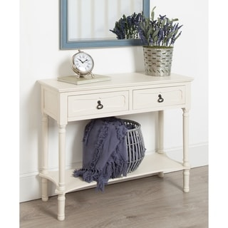 Marcella Wood Console Table with 2 Drawers and Shelf, Antique White