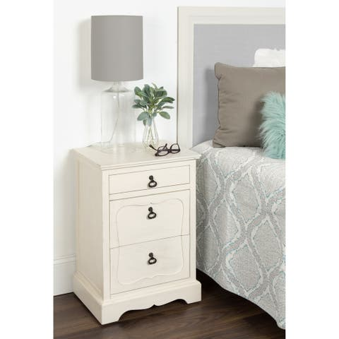Marcella Classic Three Drawer Nightstand Side End Table, Antique White