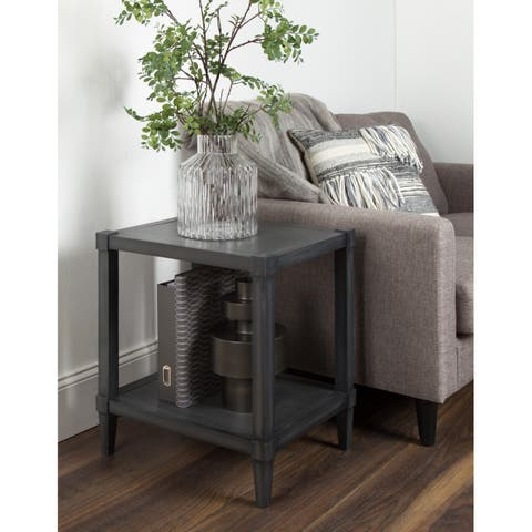 Rio Wooden Side Accent Table with Lower Shelf, Dark Gray