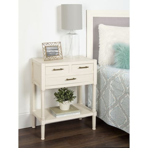 Meacham Three Drawer Nightstand Side End Table, Antique White