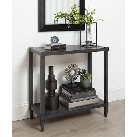 Rio Wood Console Table with Tapered Legs and Shelf, Dark Gray