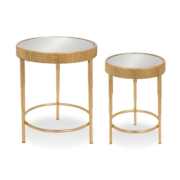 Rosario Round 2 Piece Side Accent Tables In Gold Leaf With Mirror Top