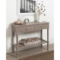 Cayne Wood Console Table with Drawers and Woven Shelf, Weathered Gray