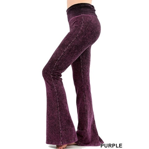 JED Women's Fold-Over Waist Flared Mineral Washed Yoga Pants